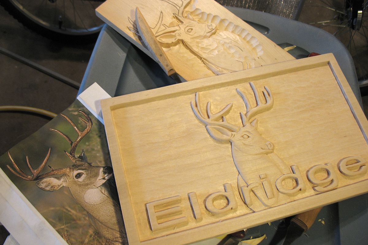 Stages eldridge relief carved sign the woodcarver s cabin