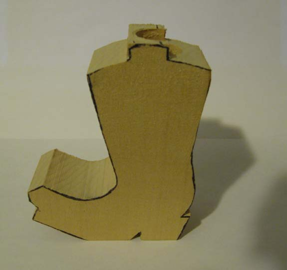 How to carve a cowboy boot - Completed Blank